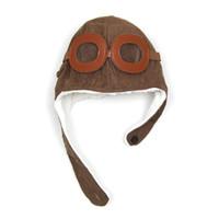 겨울 어린이 파일럿 비행 조종사 따뜻한 모자 귀 머 거리 폭탄 모자 아이 귀마개 귀 보호 비니 귀마개 MZ0200 무료 배송
