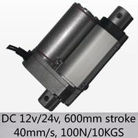 """24 """"/ 600mm longo curso linear atuador 40mm / s velocidade 100n 10kgs capacidade de carga elétrica dc 12v e 24v"""