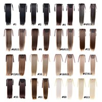 Moda kadın At Kuyruğu Hairpieces 50 cm 22 inç 100g Sentetik Saç Uzantıları İpli At Kuyruğu Saç Uzun Düz At Kuyruğu Saç 15 Renk