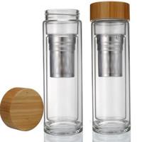 400ml Bambu Kapağı Çift Duvarlı Cam Çay Tumbler. Süzgeç ve infüzer sepet su şişeleri içerir hızlı kargo