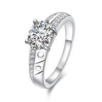 حار بيع كامل الماس أزياء جولة خاتم فضة 925 STPR057D العلامة التجارية الجديدة الأحجار الكريمة الأبيض الإصبع الفضة مطلي خواتم الاصبع