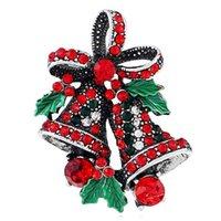 패션 2016 크리스마스 선물 핀 및 여성을위한 작은 벨 하트 라인 석 브로치