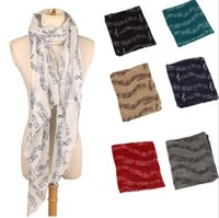Ladies Musical Note Neck Womens Long Scarf Wrap Shawl Stole Muffler Scarves musical notation scarf shawl LJJK743