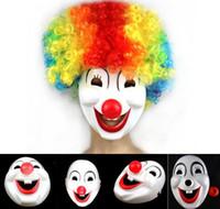 Halloween Hite Clown Rouge Nez Masque Drôle De Fête De Déguisement Fêtard Jolly Masque PVC Mascarade Carnaval Masques blanc événement festif fournitures cadeau
