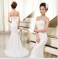 Sweetheart Lace Mermaid Bridesmaid Dress Lace Up White Red 2...
