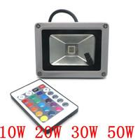 Ventes chaudes 10W 20W 30W 50W RVB LED Projecteur extérieur Flood Light IR télécommande 16 Couleurs