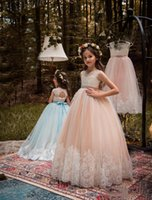 2017 Flower Girl Dresses Ball Gown Jewel Floor Length Lace A...