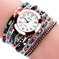 レザーブレスレット腕時計の周りの編組巻き巻き巻き腕時計レディースファッション高級ジュエリークリスタルinlaidクォーツ時計フェミニーノ