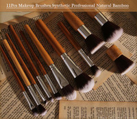 11Pcs Makeup Brushes Synthetic Professional Natural Bamboo Cosmetics Foundation Eyeshadow Blush Makeup Brush Set Kit Pouch