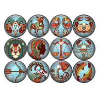 1 Set Of Zodiac 20mm Glass Print Snaps Button Jewelry Fit Gi...