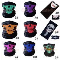 MOQ = 50pcs 25 * 49.5cm Halloween Skull Bandanas Neck Masque Masque Casquette Tubulaire Tubulaire Écharpe multifonctionnelle Seamless Turban Headband Unisexe 9 Couleurs