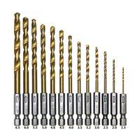 Titanium Coated HSS Twist Drill Bit Set for Metal Power Tool...