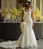 2019 Jardín Vestidos de novia Sirena Ilusión Escote Botes nupcial Botón cubierto de encaje Nigeriano Botón Africano largo / ASO Vestido de novia EBI