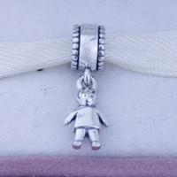 Luźne koraliki 925 Sterling Silver Silver Core Dangle Spacer Charm Koralik Biżuteria z chłopiec dziecko dzieci, nadaje się do bransoletki Pandora 1 sztuk / partia