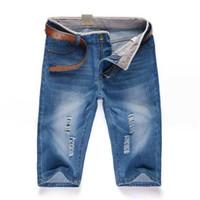 Toptan-Ücretsiz Kargo 2020 Mens Kısa Kot Pantolon Günlük Pantolon Moda Açık Mavi Erkek Jeans Spor Şort
