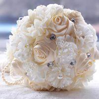 Mode 2016 Bouquets de mariage fabriqués à la main Perles de fleur Crystal Mariage Fournitures de mariée de mariée Holdal Holding Bouquet de broche