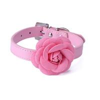 5 color Flower Cat Dog Collar Necklace PU Leather Dog Pet Pu...