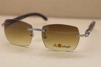 Hot Glasses Rimless C Sunglasses T8100905 Sun Glasses Horn Big Diamond Size:57-18-140mm Black Decoration New Women Driving Buff Appeu