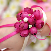 2017 Real 8cm Boutonnieres Wedding Prom Wrist Corsage With B...