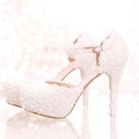 화이트 레이스 꽃 신부 신발 높은 발 뒤꿈치 라운드 발가락 패션 웨딩 펌프 발목 스트랩 여성 샌들 신부 들러리 신발