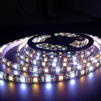 5M 60 / mSMD 5050 RGBW / WW 블랙 PCB LED 스트립 DC 12V 유연한 가벼운 방수
