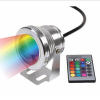 DHL Ücretsiz nakliye 10 W RGB Işıklandırmalı ışık Sualtı LED Sel Işıkları Yüzme Havuzu Açık Su Geçirmez aydınlatma Yuvarlak DC 12 V Konveks Lens