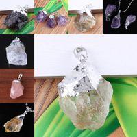 Commercio all'ingrosso 10 pz argento placcato ordine della miscela druzy quarzo cristallo perline di pietra monili di fascino del pendente (casuale in forma e dimensioni)