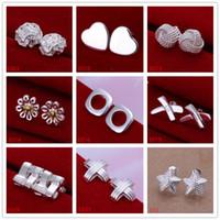 Toptan kadın gümüş kaplama küpe 10 çift çok karışık stil EME1, yeni varış moda 925 gümüş plaka saplama küpe