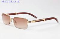 alta calidad clásica nuevas gafas de sol deporte de la manera para los hombres y las mujeres de madera de bambú gafas lente transparente negro marrón con la caja y el caso