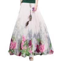 2017 шифоновые богемные юбки женские летние вечеринка Harajuku Print старинные мода цветок этнические бохо длинные макси юбка Boho