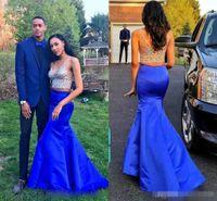 Vente chaude 2K16 Couple Mode Sirène Robes De Bal Deux Pièces Col En V Pailleté Perlée Cristaux Royal Bleu Formelle Soirée Occasion Robes