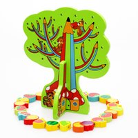 Baby Threading Wooden Toys Fruit Tree String of Beads Blocks...
