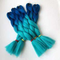 Synthetische Flechtflecht Haar Gefaltet 24inch 100g Ombre Zwei Ton Farbe Jumbo Braid Haarverlängerungen Weitere Farben