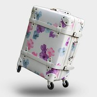 Woman Vintage Luggage, Cherry Retro Travel Suitcase, High qual...