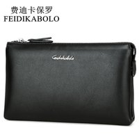 FEIDIKABOLO Top Quality Men Wallets Luxury Black Leather Pur...