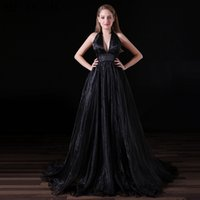 Black V Neck Organza Prom Dresses Sexy Slit Long Backless Ev...