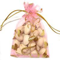 100 unids Corazón de oro Bolsas de embalaje Organza Bolsas de joyería Favores de la boda Bolsa de regalo de la fiesta de Navidad 9 x 12 cm (3.6 x 4.7 pulgadas)