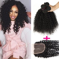 Remy Peruvian Hair 3 Bundles With Lace Closure Free Or Middle Part Brazilian Peruvian Malaysian Mongolian Kinky Curly Virgin Hair & Closure