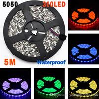 8 색 5M 300 Leds 비 방수 SMD 5050 Led 스트립 조명 60 led / M RGB Led String bulb