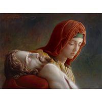 Figure peintures à l'huile Christ Portrait La Pieta à la main Joseph Brickey peinture toile art salon décor
