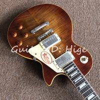 venta caliente instrumentos musicales OEM 1959 R9 Tiger Flame Guitarra eléctrica de lujo acabado con hardware de Chrome! alta calidad