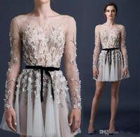 Paolo Sebastian 2017 Abiti da cocktail sexy Sexy Manica lunga 3D-Floral Appliques A Line Party Gowns Bateau Neck Beaded Illusion Bodice Prom Dress