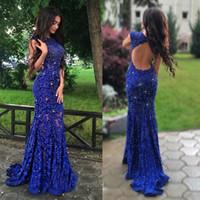 Lace-Applikationen Perlen Ärmel Mermaid Königsblau Herrliche Abendkleid durchschaut Spitze Abendkleid vestidos de graduacion
