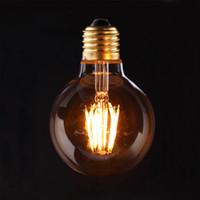Forme Verre Ambre, 6W, G80 Edison Globe Lampe, LED Vintage Filament Ampoule, Super chaud 2200K, E26 E27 base, peut être obscurci