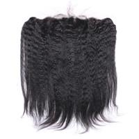 جديد وصول غريب مستقيم الرباط أمامي 13x4 بوصة المنغولية الشعر الايطالية الخشنة ياكي الأذن إلى الأذن كامل الرباط المقدمات رخيصة الثمن