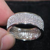 الفقرة الأزياء الفاخرة 925 فضة الأحجار الكريمة خواتم مشرقة كاملة مقلد الماس الزركون خواتم الاصبع للمرأة