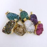 7 colori in vendita, collana pendente Geode Druzy, gioielli druzzy, pendente drusy, pendente in pietra preziosa quarzo druzy titanio oro