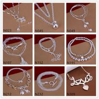 Modelos de ráfaga de estrellas Plateadas de plata esterlinas collares GTP53, Moda amor Flor Star 925 Plateado Plata Collar 5 Piezas Mucho estilo mixto