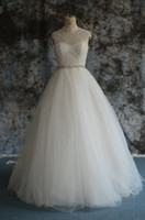 High Neck Organza Tulle Ball Gown Wedding Dress With Pearls ...