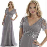 Elegant Grey Plus Size Mother of the Bride Dresses Crystal C...